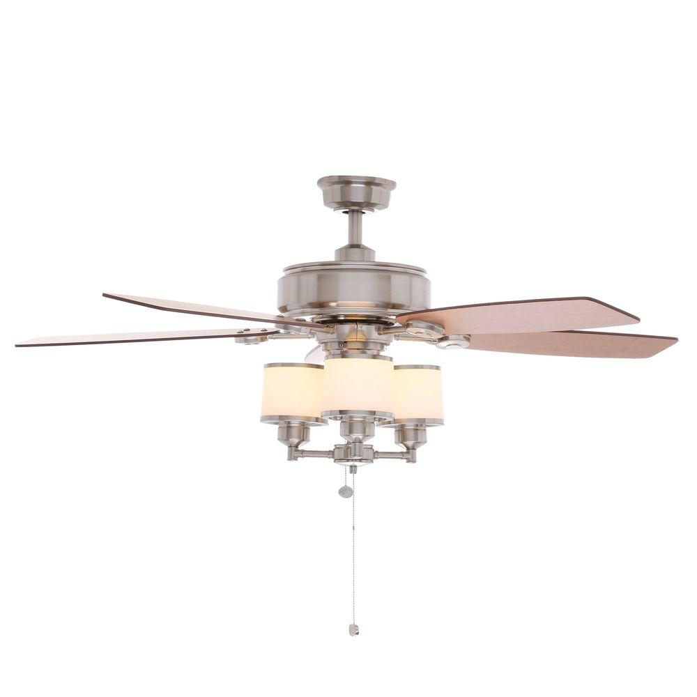Hampton Bay Waterton Ii 52 In Indoor Oil Rubbed Bronze Ceiling Fan With Light Kit Ag510 Orb The Home Depot Ceiling Fan Brushed Nickel Ceiling Fan Ceiling Fan With Light