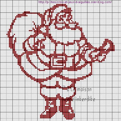 grille gratuite monochrome : le père Noël | Point de croix noel, Point de croix, Broderie de noël