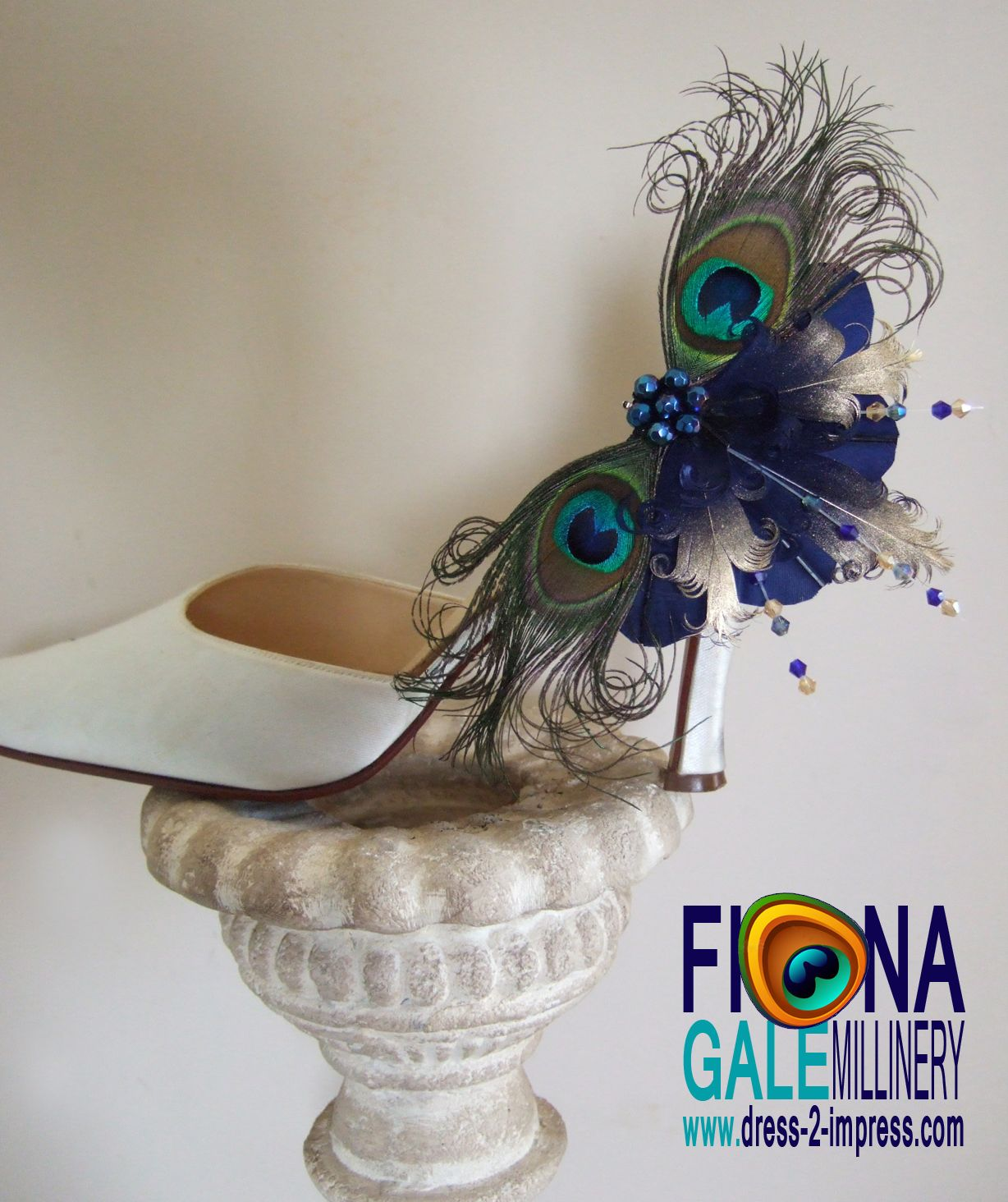 Bridal navy gold curled nagoire feathers