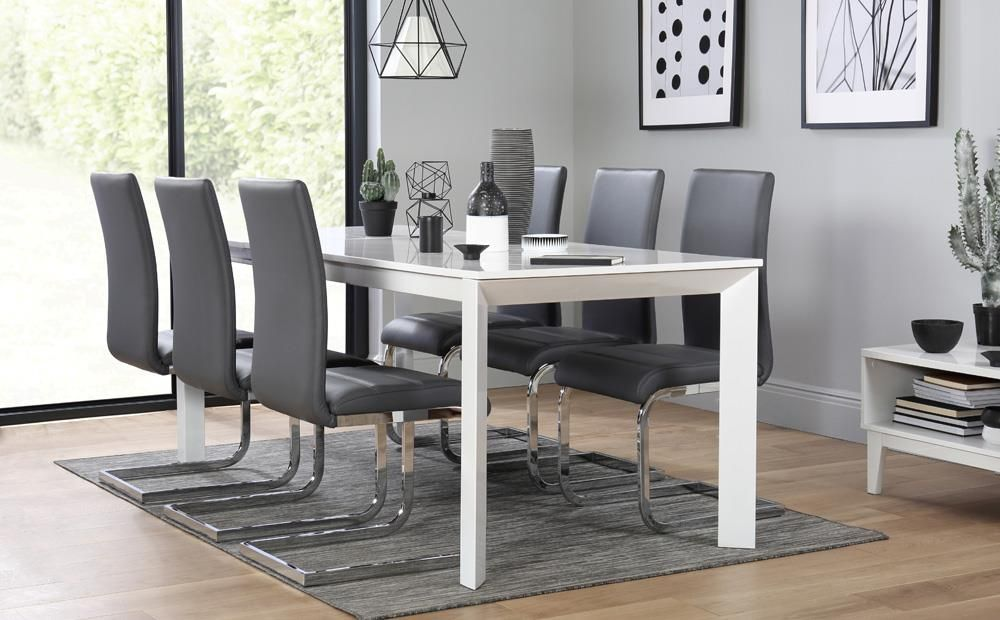Avon White High Gloss Extending Dining Table With 6 Perth Grey Chairs Only 699 99 Furniture Choice Dining Table Table Dining Table Chairs