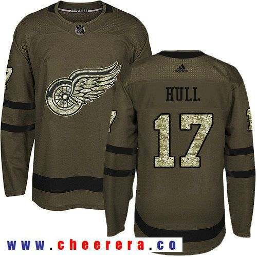 Adidas Red Wings #17 Brett Hull Green Salute to Service Stitched NHL Jersey
