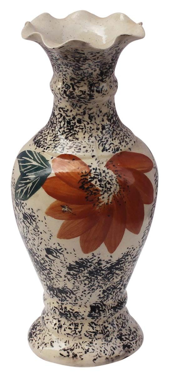 Bulk Wholesale Handmade 10 Long Ceramic Flower Vase In Brown Earthy Color With Hand Painted Tradition Flower Vases Decoration Flower Vases Bright Colors Art