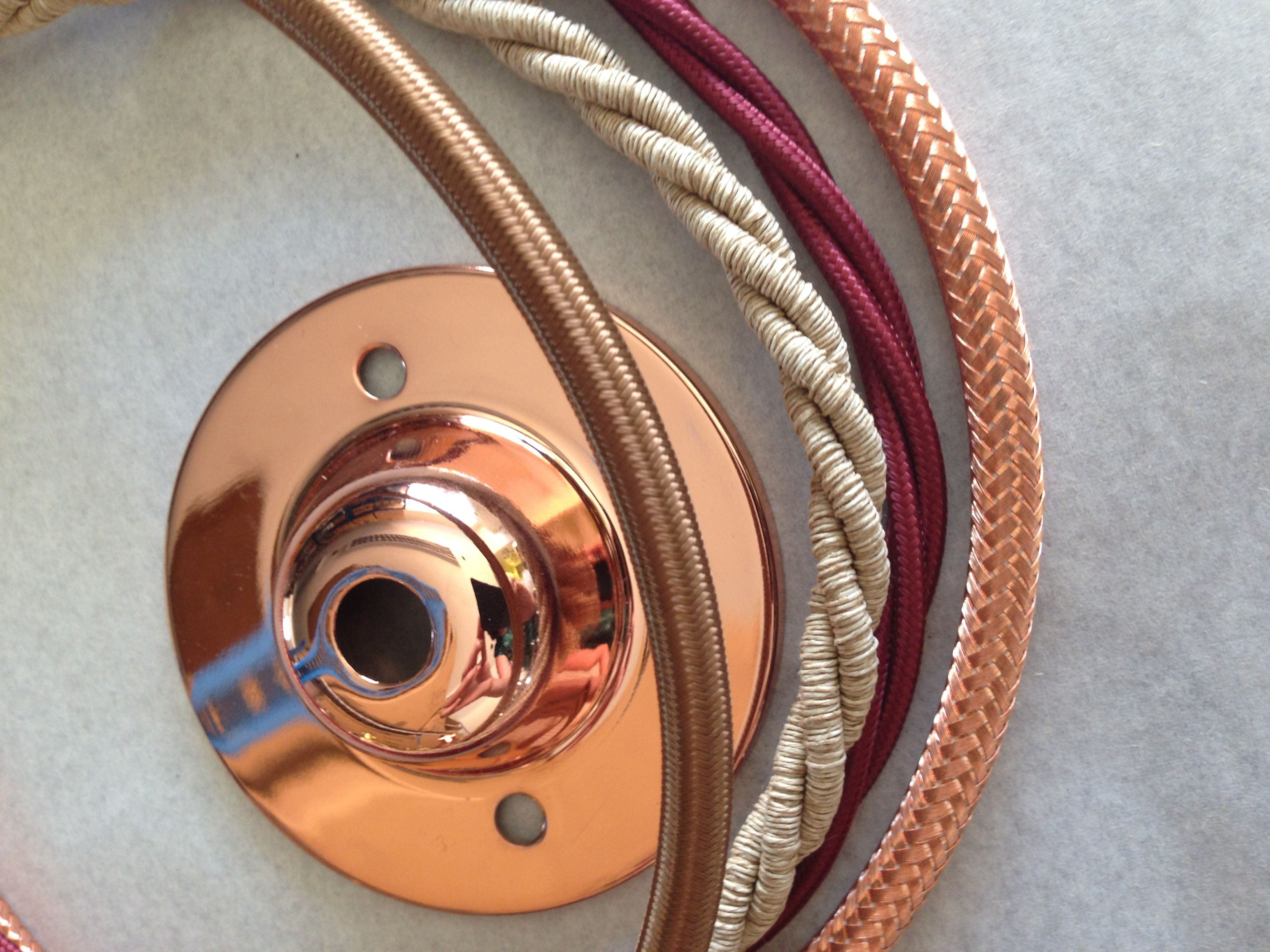 Copper 72mm D ceiling rose with a mix of flex colours - Havana gold, jute, burgundy and copper braid