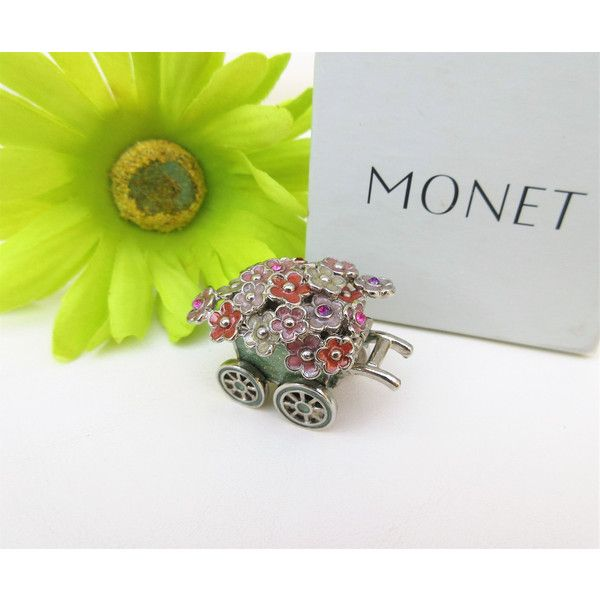 Vintage Monet Box Flower Cart Collectible Box Monet Jewelry Box