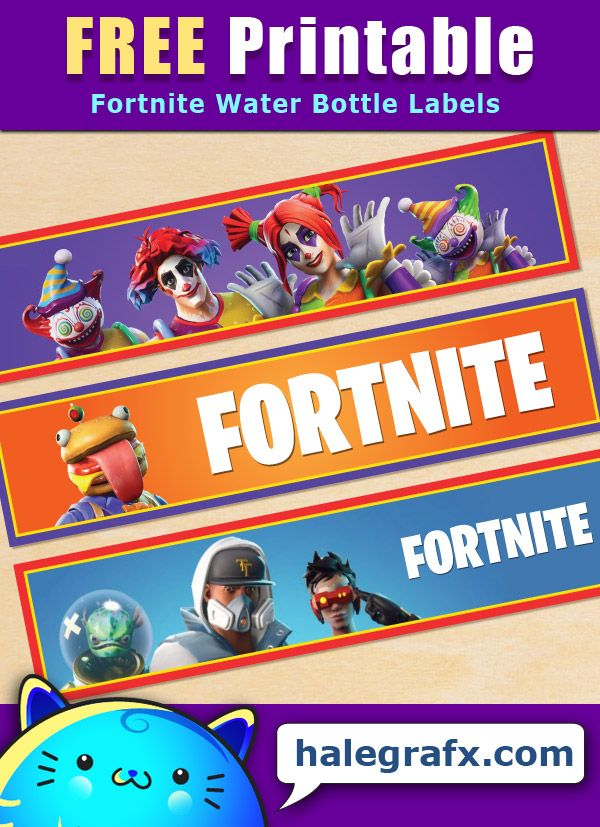 Free Printable Fortnite Themed Water Bottle Labels In 2019