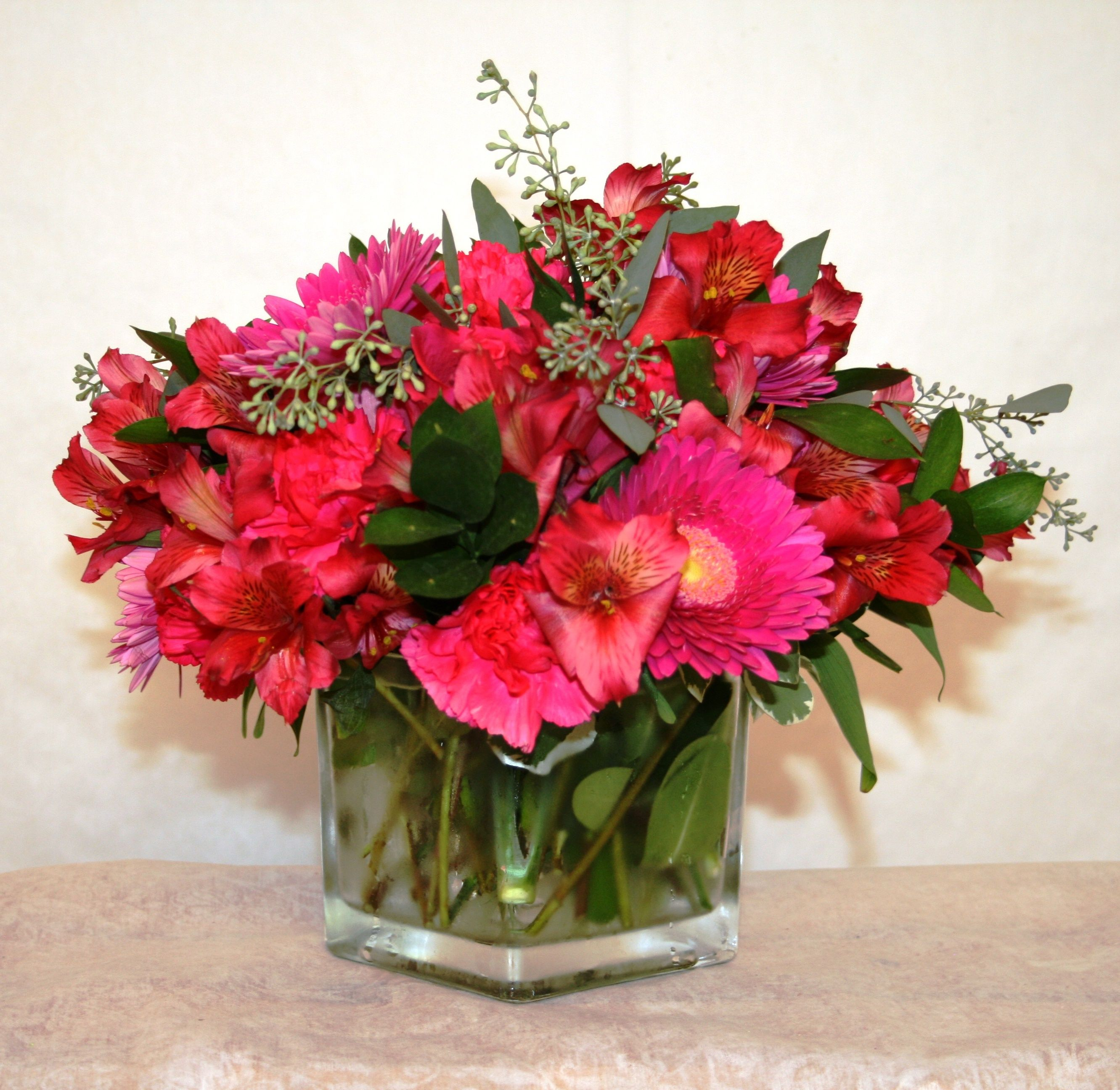 Clear Square Vase Of All Pink Flowers Including Hydrangea Gerbera