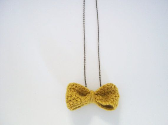 Mustard Yellow Crocheted Bow Necklace by ApplesAndBows on Etsy, $6.00