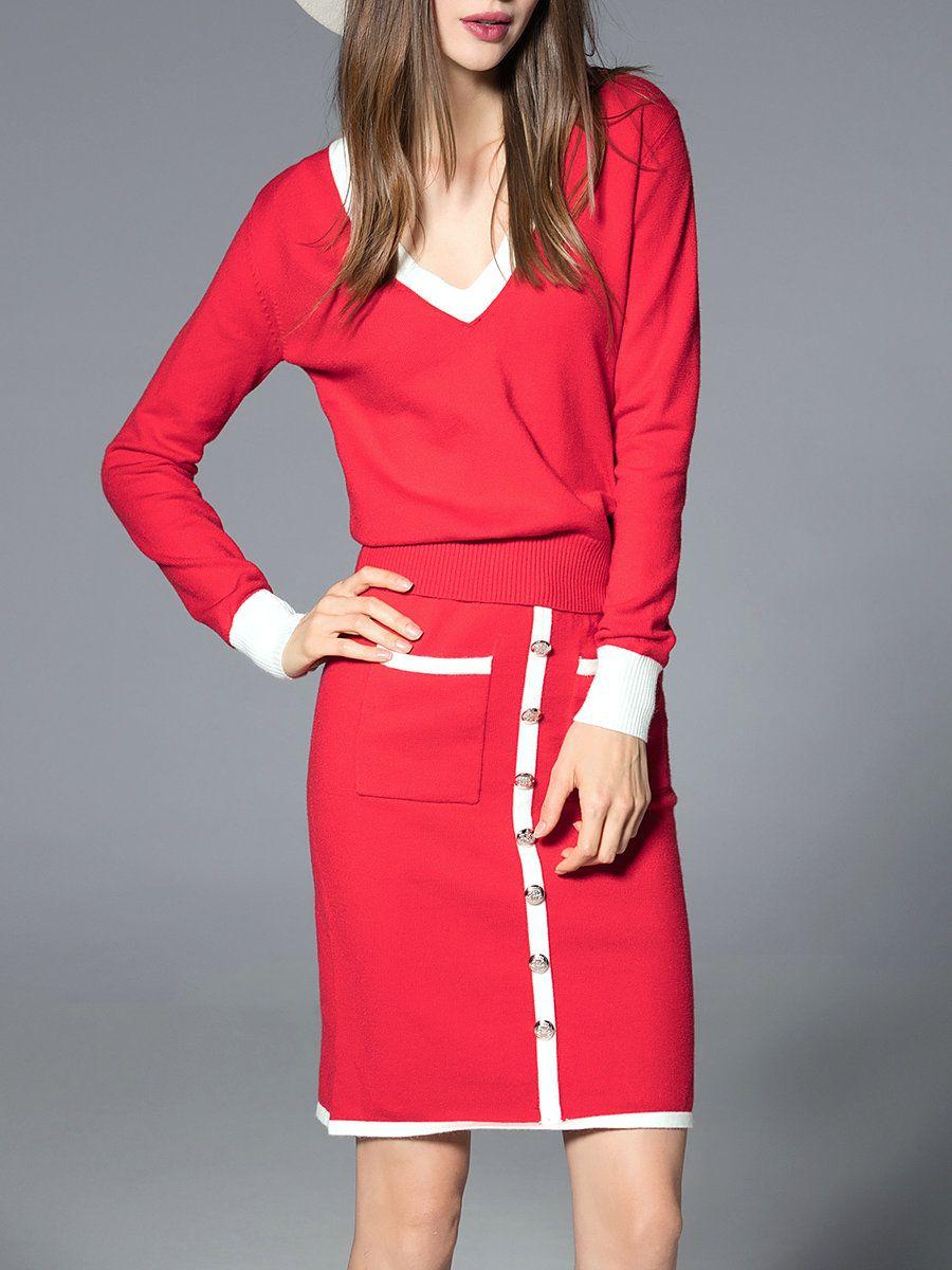 #AdoreWe #StyleWe JIANSHAN Red V Neck Long Sleeve Midi Dress - AdoreWe.com