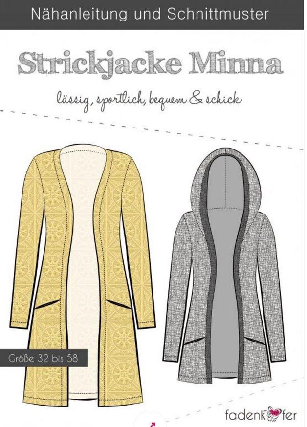 Schnittmuster Strickjacke Minna Frau Fadenkäfer Gr.32-58 Zum Verkauf ...
