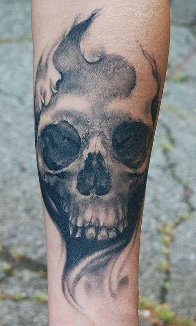 Unique Grey Ink Skull Tattoo On Arm Skull Sleeve Tattoos Skull