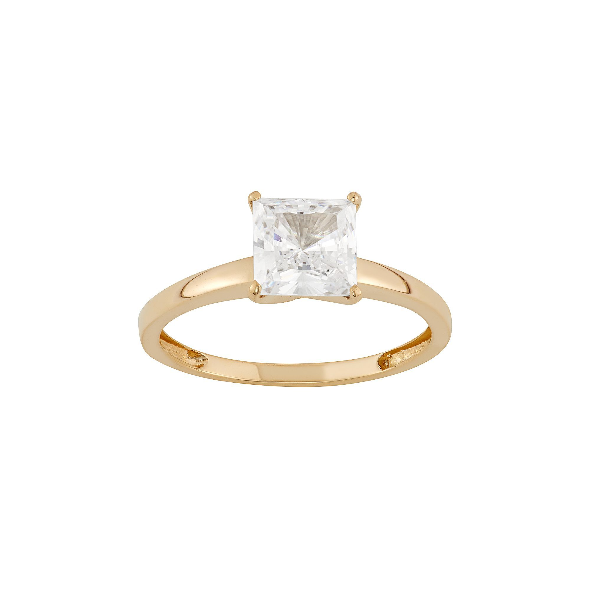 6a8b5b2a6da03 10k Gold Cubic Zirconia Solitaire Engagement Ring | Products ...