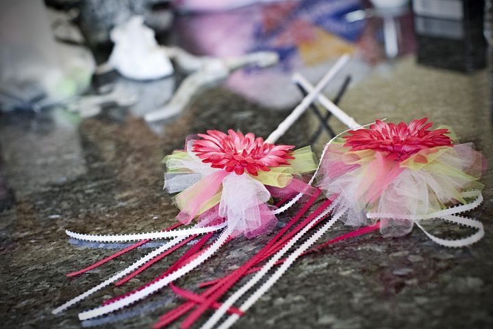 """wands that matched the flowergirl dresses... great """"reward"""" for getting down the isle!"""
