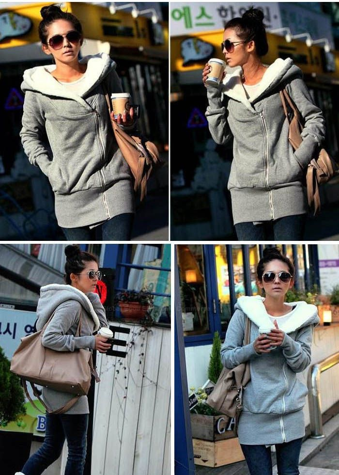 c5ad73c4913b3 Concise Cross Collar Zipper Side Long Sleeves Fleece Coat For Women (GRAY