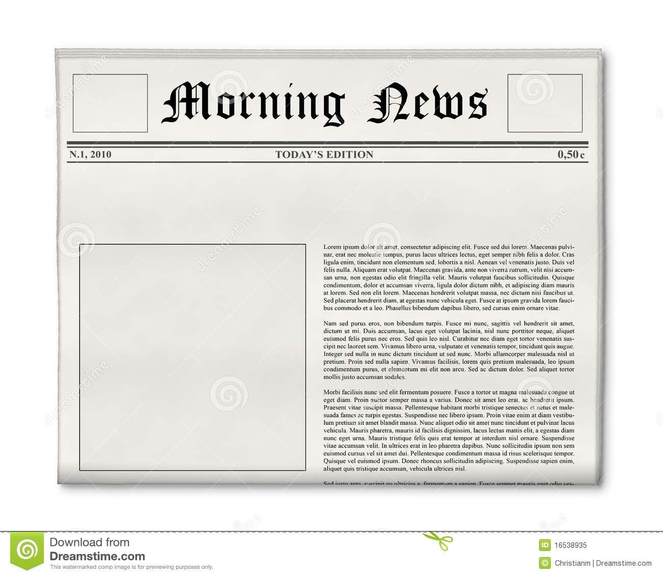 Newspaper Cake Template Front Page Free
