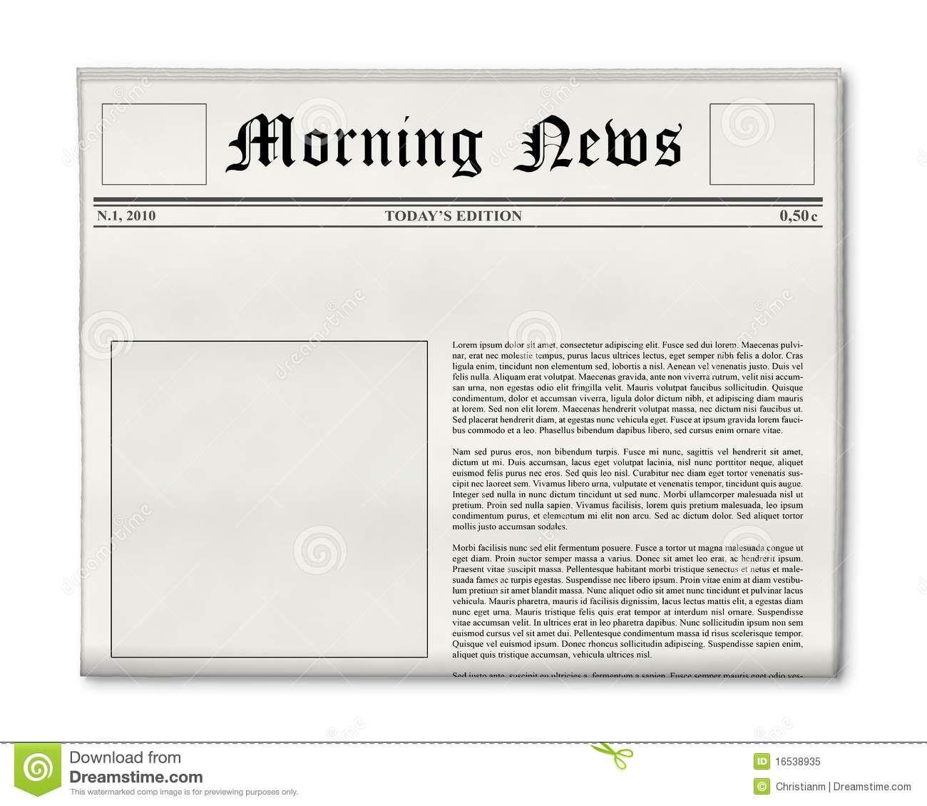 Blank Newspaper Layout