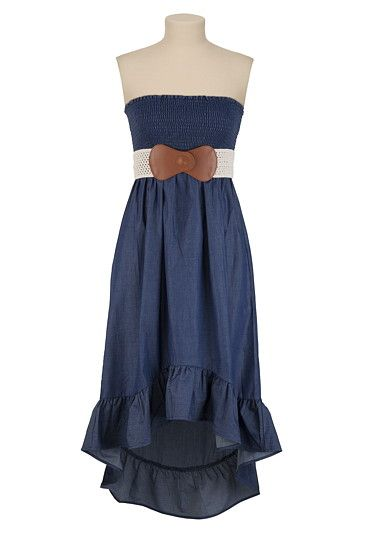 Belted High-Low Chambray Dress
