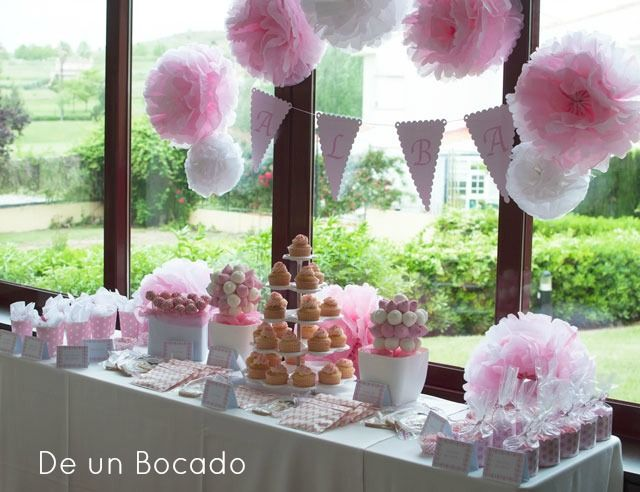 Pink  white sweet buffet communion Mesa dulce rosa y