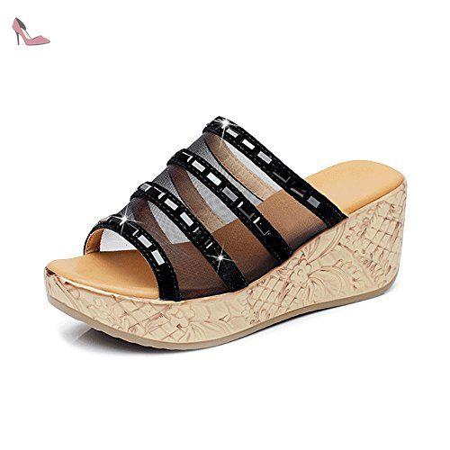 OCHENTA Femme Sandales Mules Talon Compensé Sexy a enfiler Sexy Eté Noir-37 - Chaussures ochenta (*Partner-Link)