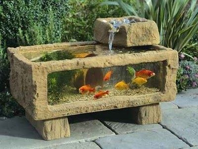 Patio Aquarium But What To Do With It In The Winter Hmmm Fish Ponds Patio Design Outdoor