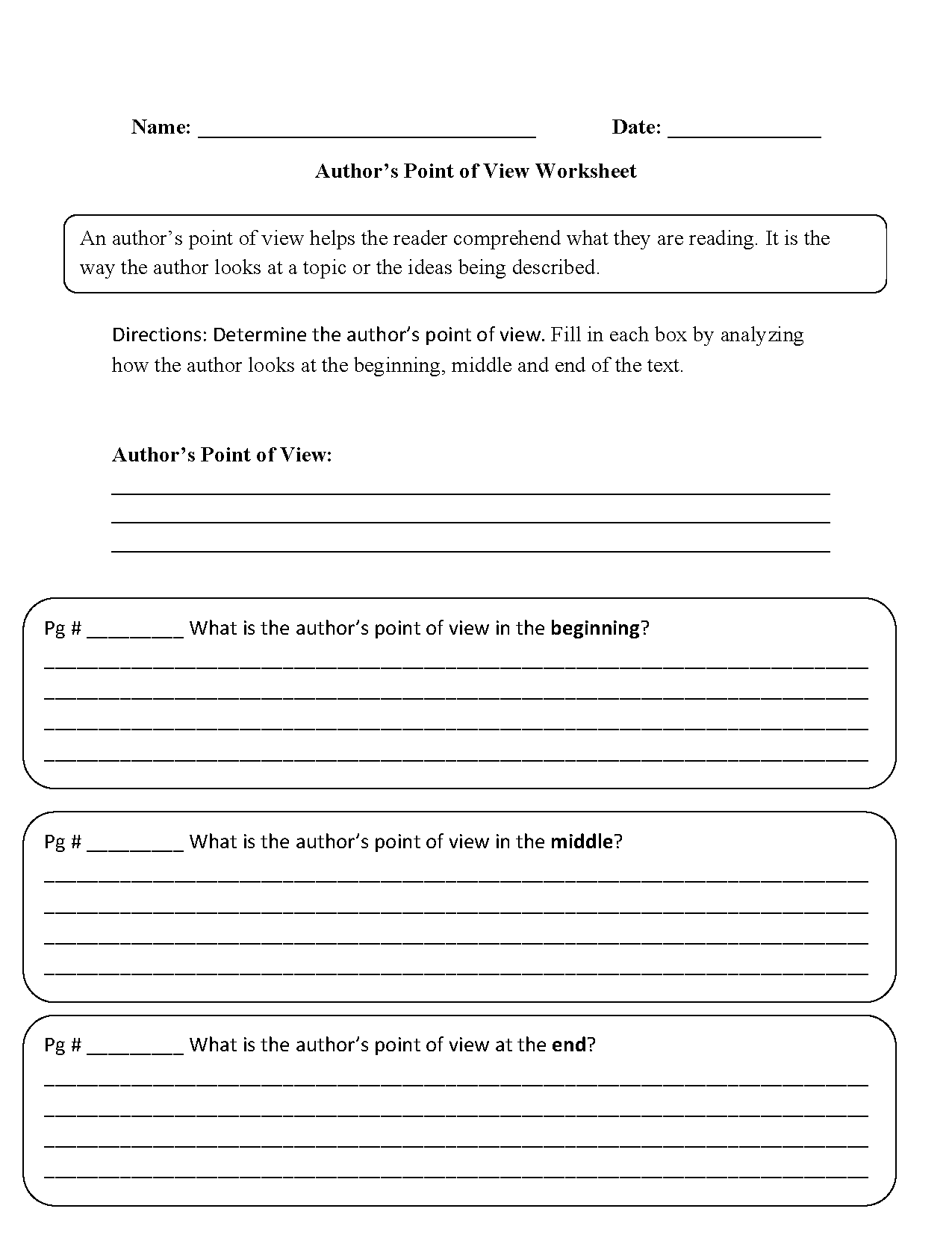 Author S Point Of View Worksheets