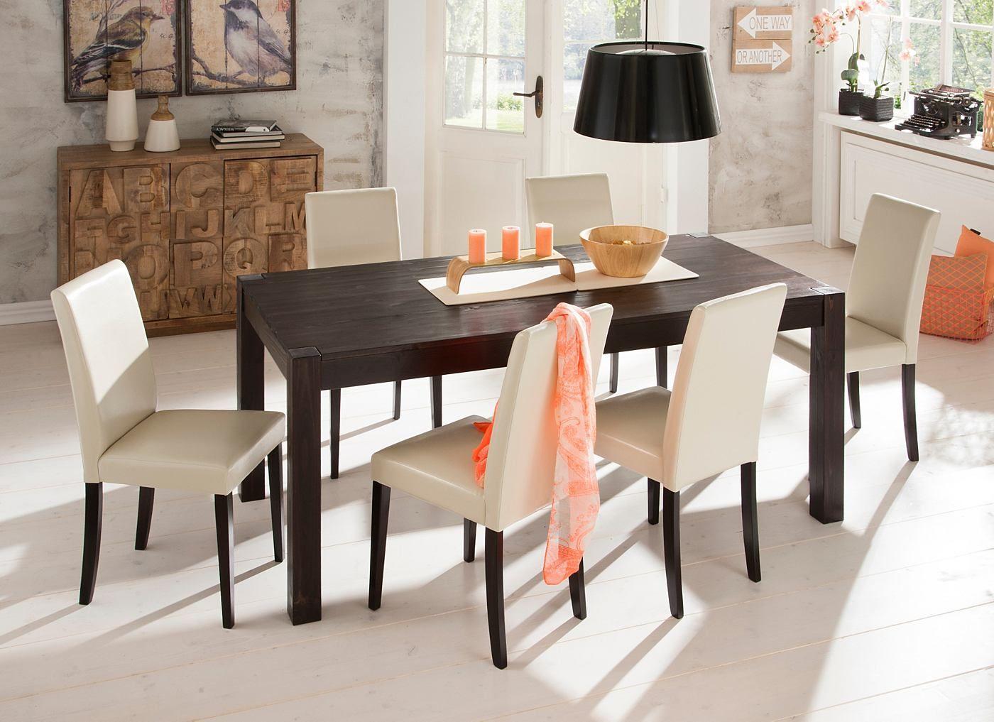 Die Essgruppe im klassischen Landhaus-Design beinhaltet einen Tisch, 180cm breit, und vier farblich passende Stühle. Alle Produkte dieses Sets sind aus FSC®-zertifizierter, massiver Kiefer gefertigt.   Details Tisch:  Maße (B/T/H): ca. 180/90/75 cm, 75 cm Tischhöhe, 2 cm starke Tischplatte, Höhe bis zur Tischzarge 62 cm, Alles ca.-Maße, Selbstmontage mit Aufbauanleitung, Aus FSC®-zertifizierter...