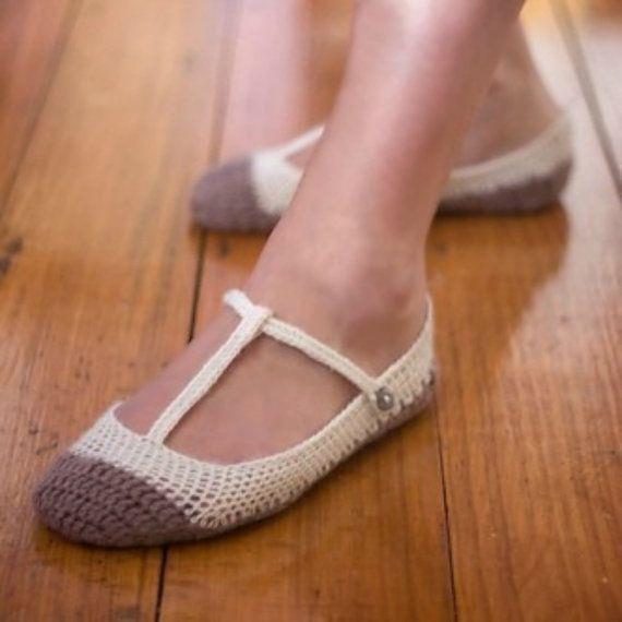 Download Now Crochet Pattern Skimmer T Strap Ballet Flats Slippers