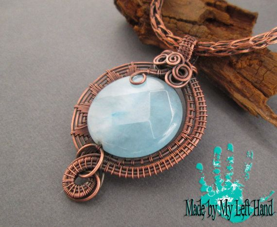 Kupfer-Kette Draht gewickelt Halskette Jade Halskette Draht ...