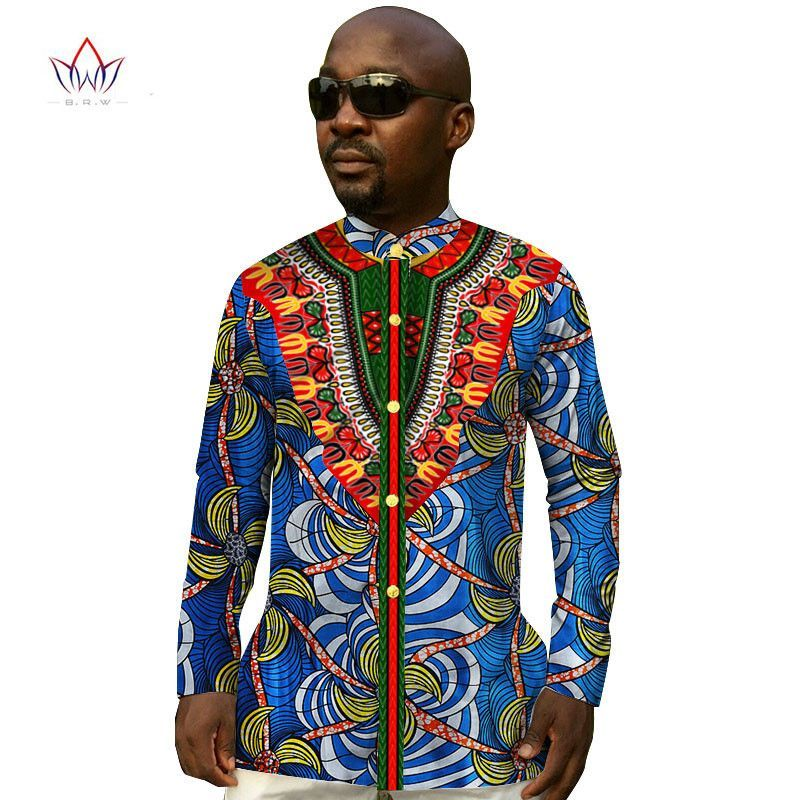 8e34d3ec481c1 Custom Men Shirts Long Sleeve Mandarin Collar Print Dashiki Men Shirt  Fashion African Print Wax Plus Size Clothing BRW WYN136