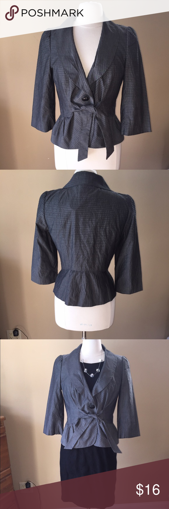 Classifies Entier Nordstroms Gray Jacket Lined jacket with button front, tie and gathers at waist. Two button closure, but the bottom button is missing - does not show when tied; easy to replace the two buttons, if desired. Third photo shows jacket styled with Karin Stevens dress sold under separate listing. Shown on size 6/8 mannequin (mannequin measures 37-26-37)👗👚👜Check out the $6 section of my closet (before the sold items). Lots of bundle-worthy $6 items! 15% bundle discount on 2…