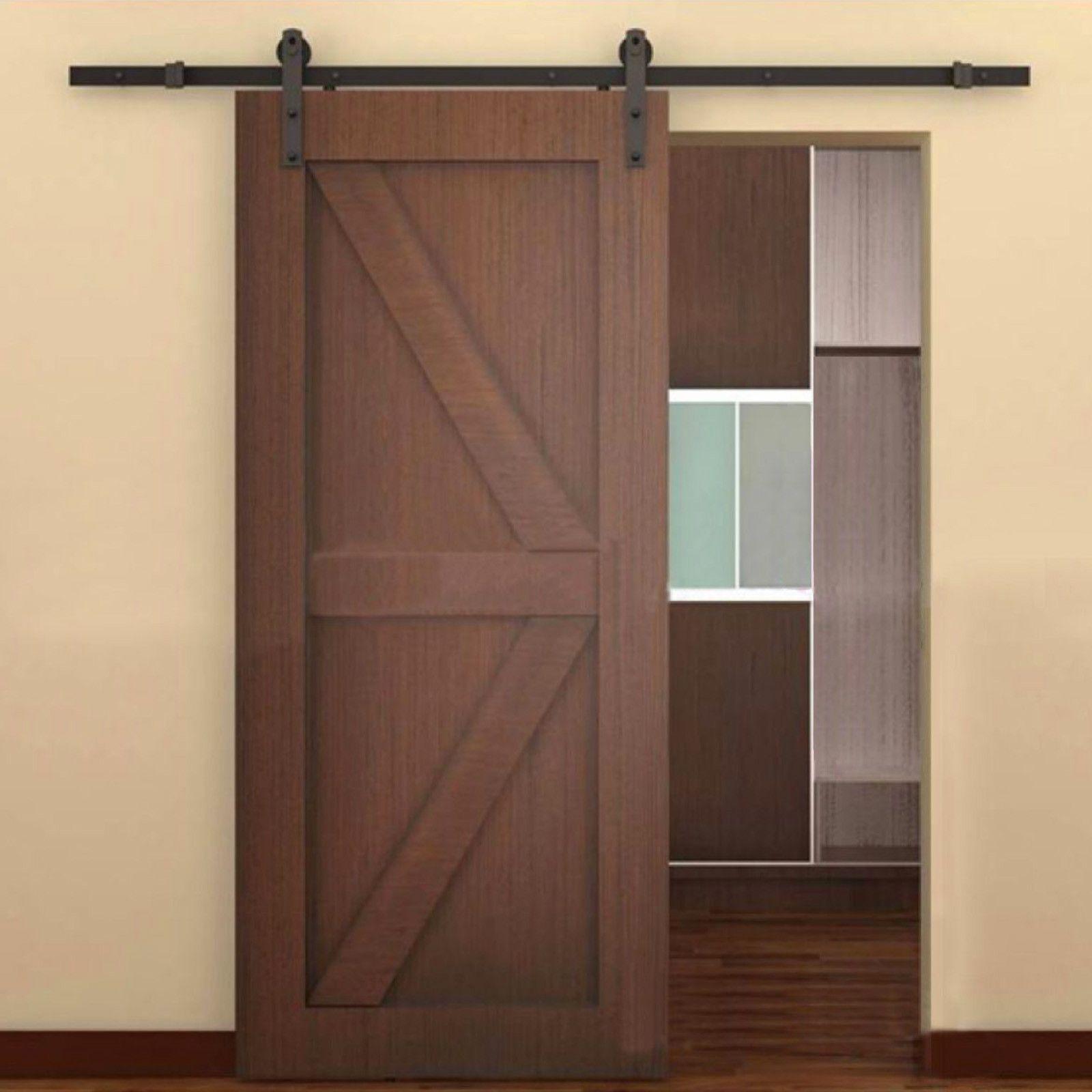 Hardware for wall mounted sliding door - Sliding Door Track Hardware Set 6 6ft Brown Black Steel Antique European Barn