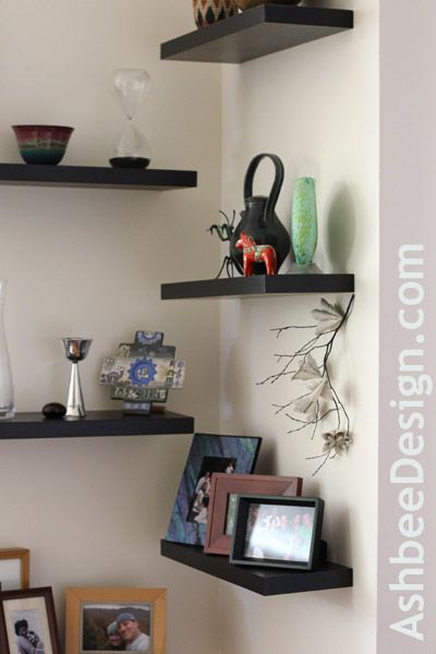 Alternating Shelves Can Help Decorate An Awkward Corner For The Dining Room