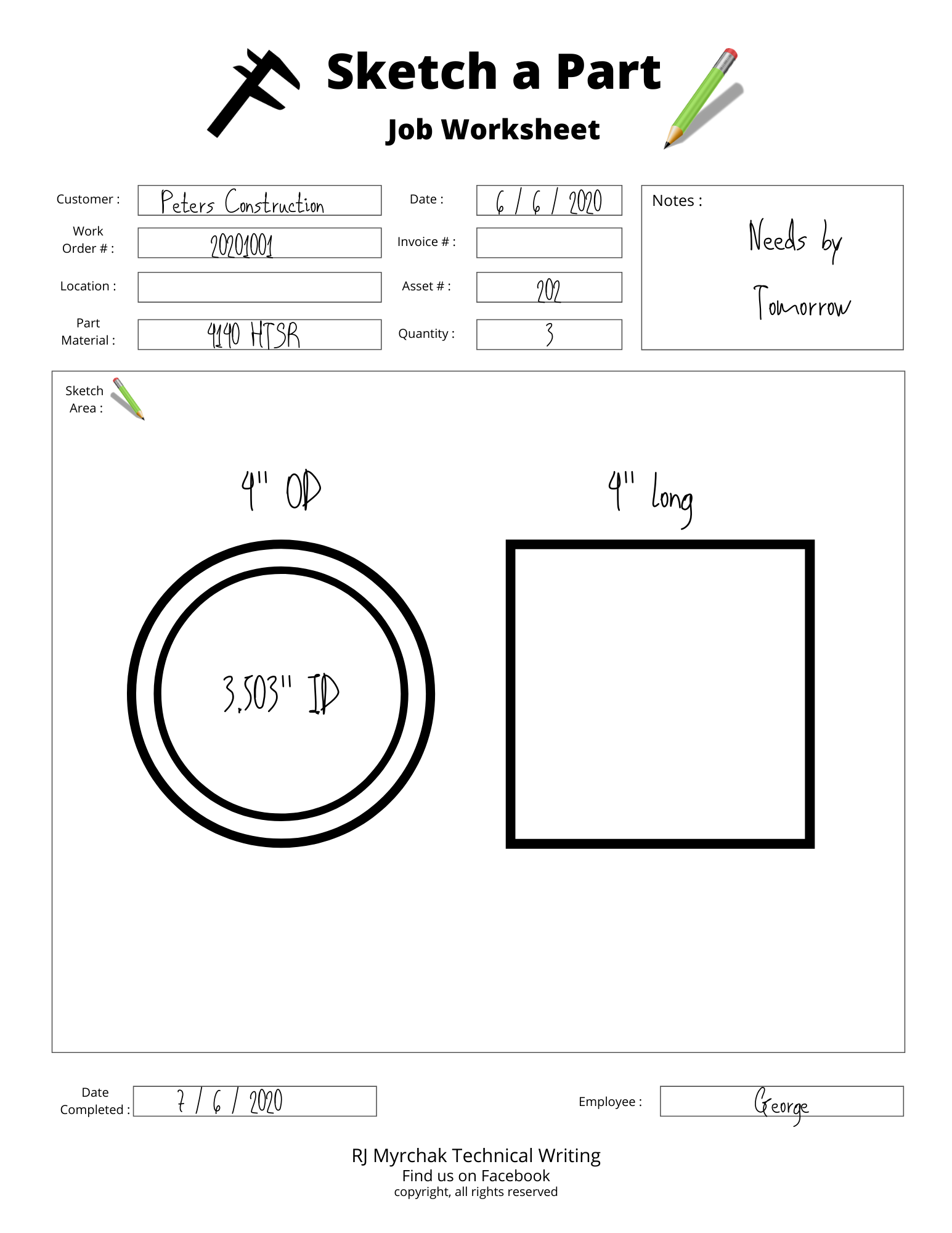These specialty job worksheets are designed for Machine