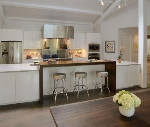CLEAN. Modern Island Style White Kitchen, White Cabinets