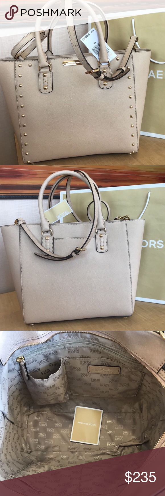 authentic Michael Kors Shoulder tote purse Brand new with tags Leather  gorgeous designs Sandrine stud Blush 28969e667f