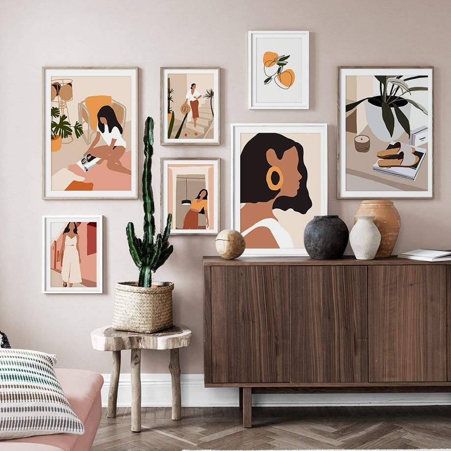 Abstract Fashion Vintage Girl Minimalist Wall Art Canvas Painting