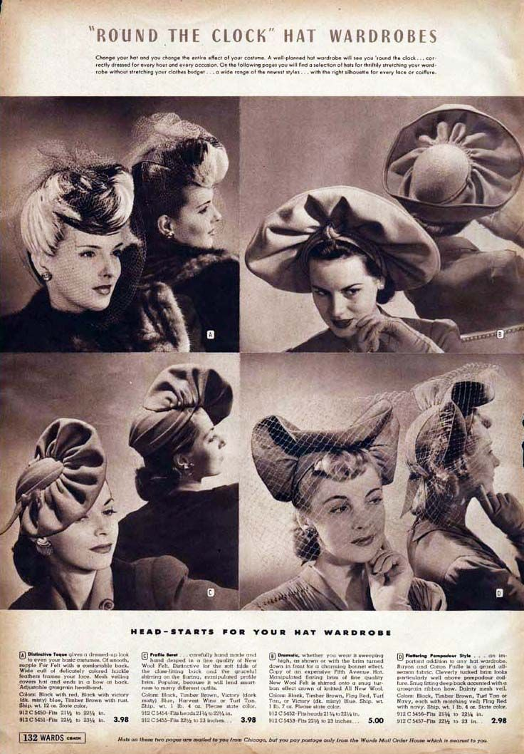 cd1371d52eb23 1942 Hats Catalog Page  1 vintage fashion style hats 40s war era photo print  ad catalog