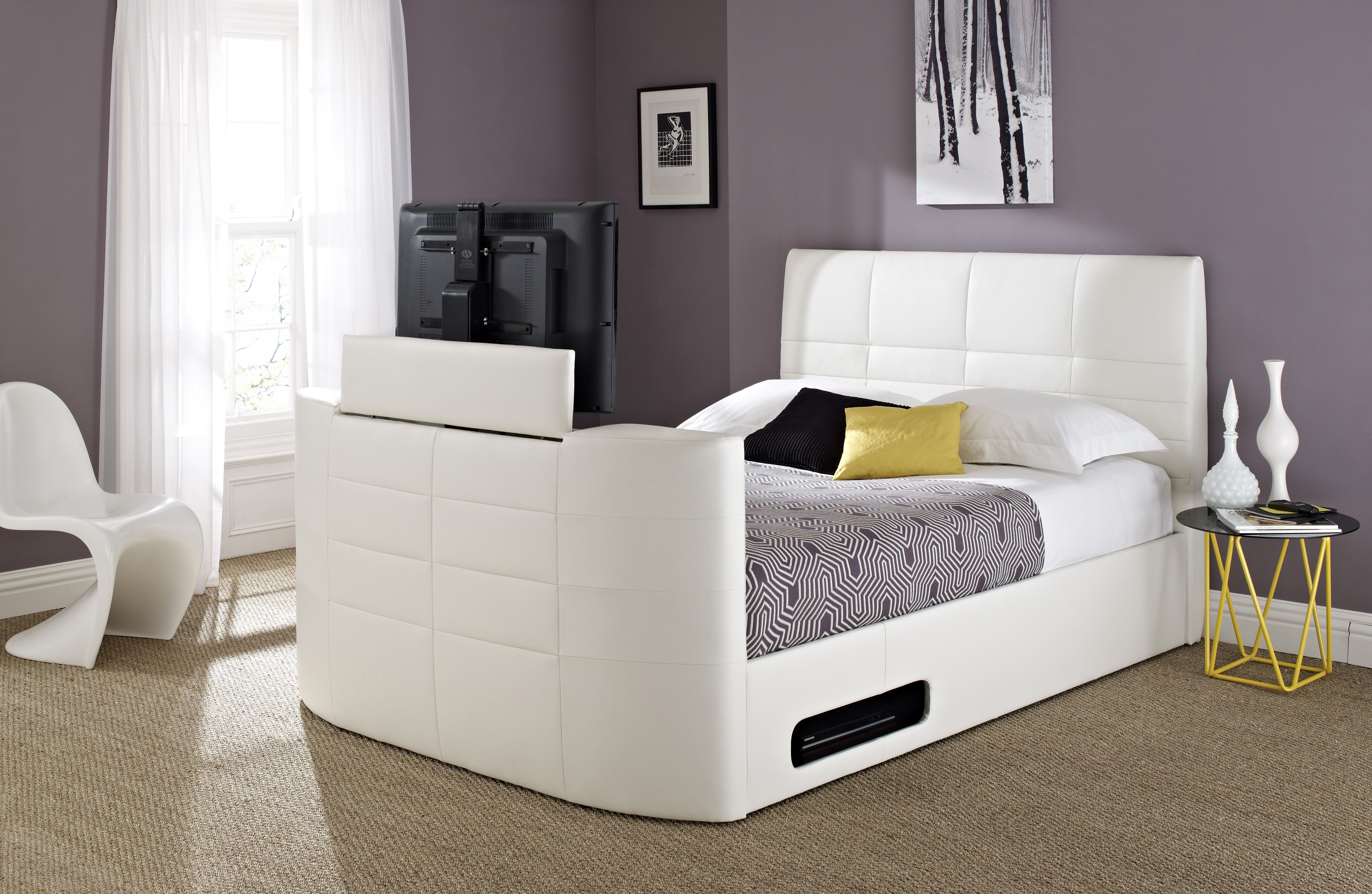 York Leather TV Bed White