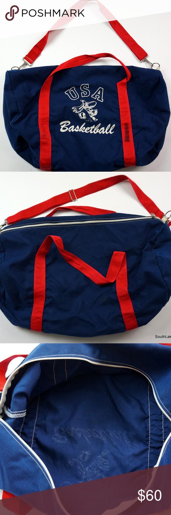 62ab7e2b6ada Vintage USA Basketball Gym Bag Duffle Bag Navy Red Vintage USA Basketball  Gym Bag Duffle Bag