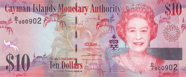 CAYMAN ISLANDS MONETARY AUTHORITY  BANK NOTE 1 DOLLAR UNC ND 2010 C