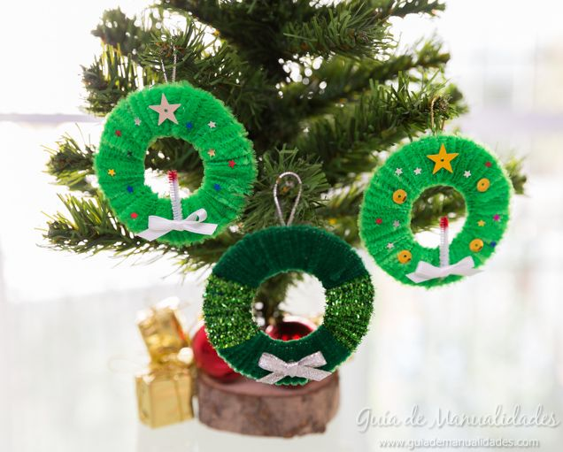 Mini coronas para el rbol de navidad manualidades diy - Coronas de navidad ...
