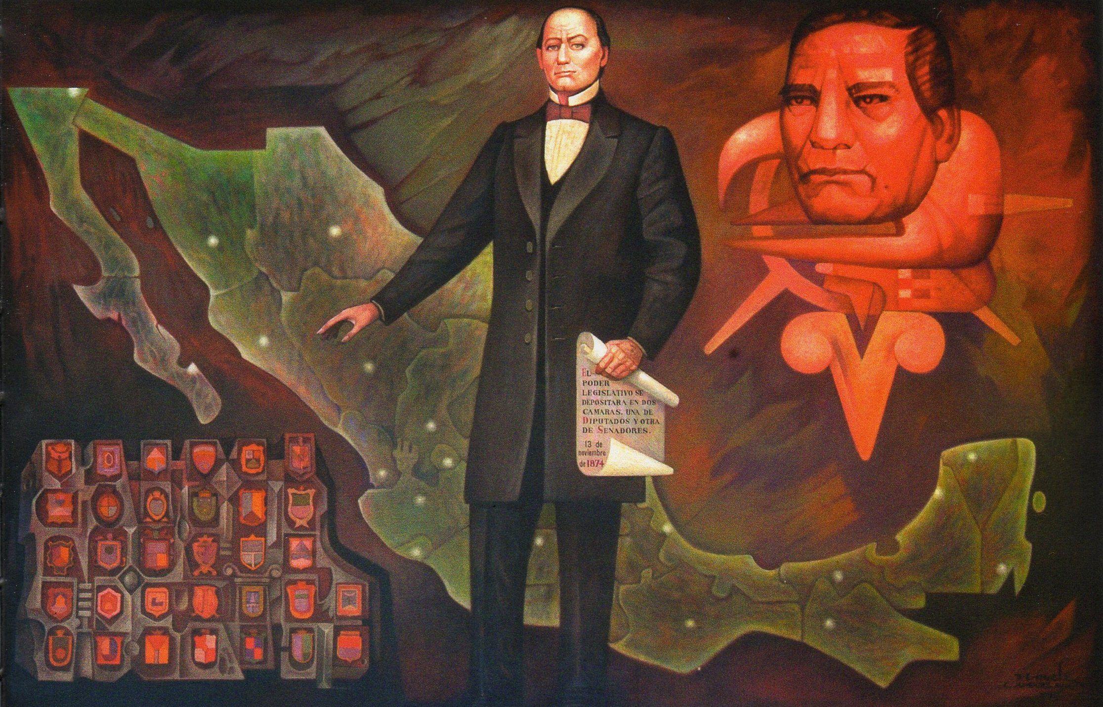 Mural autores de la restauraci n del senado antigua for Benito juarez mural