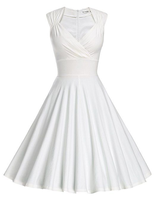 MUXXN Damen Retro 1950er V-Ausschnitt Brautjungfer Party Swing Kleid ...