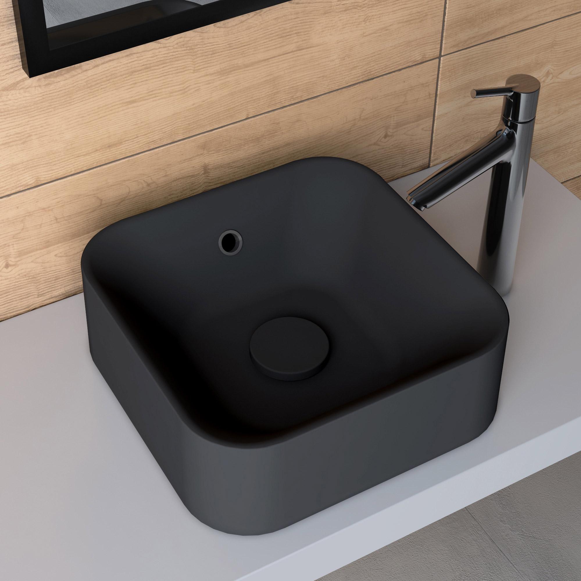 Vasque A Poser Resine De Synthese L 38 X P 38 Cm Noir Sensea Capsule Vasque A Poser Vasque Et Lave Main Wc