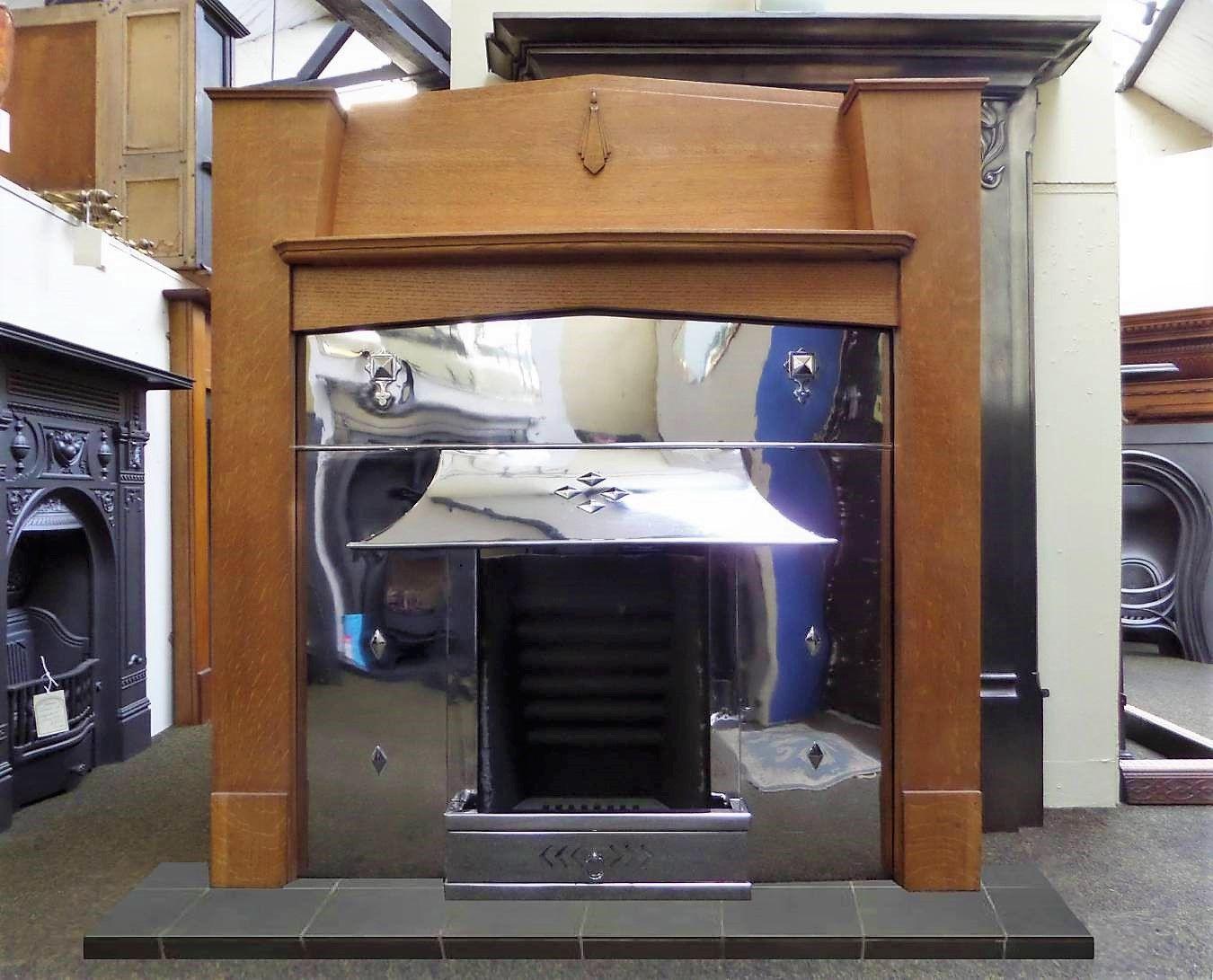 Antique unusual art deco oak wood fireplace mantel surround in