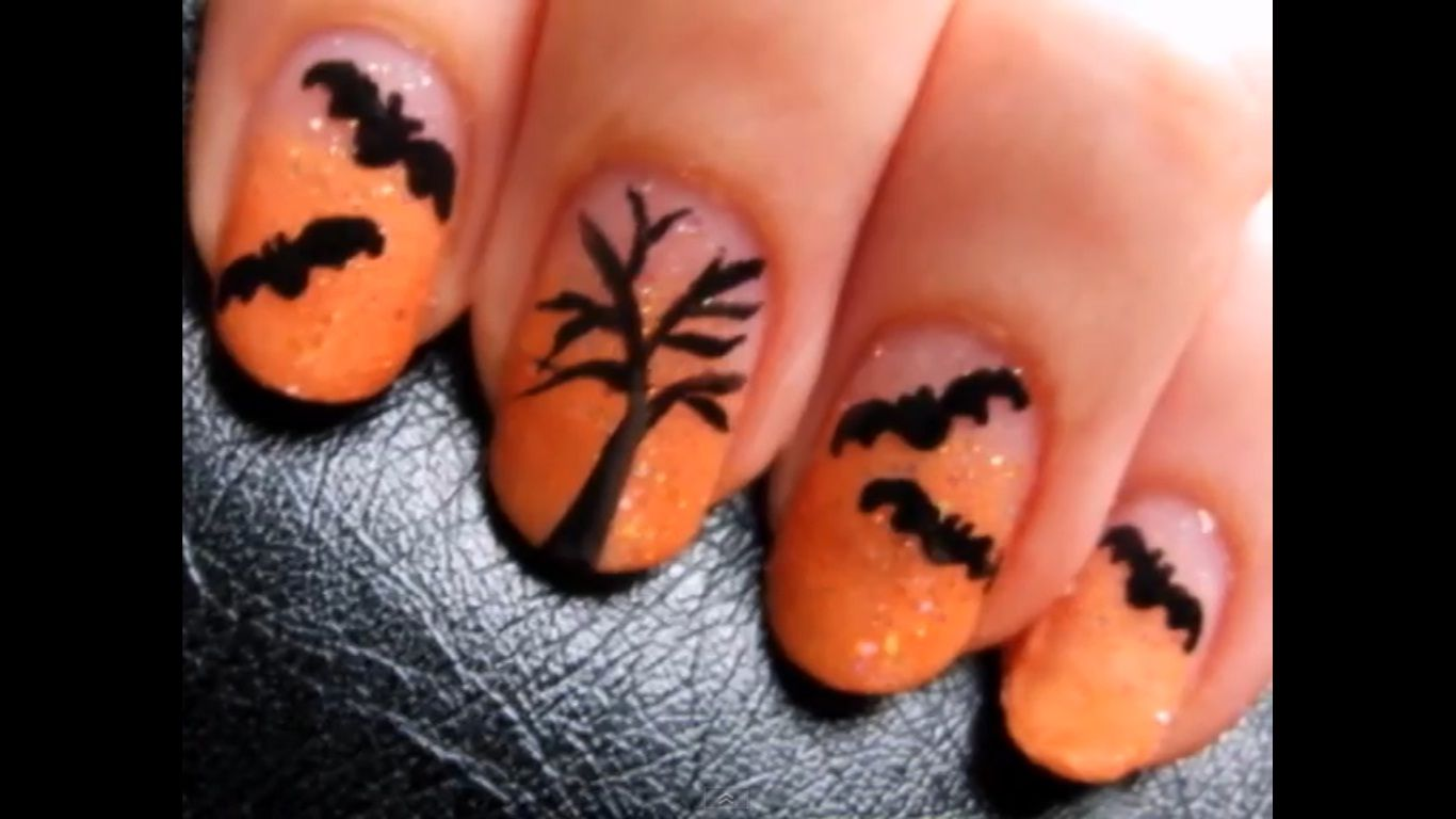halloween bat nails! (found @ youtube/cutepolish) | nails