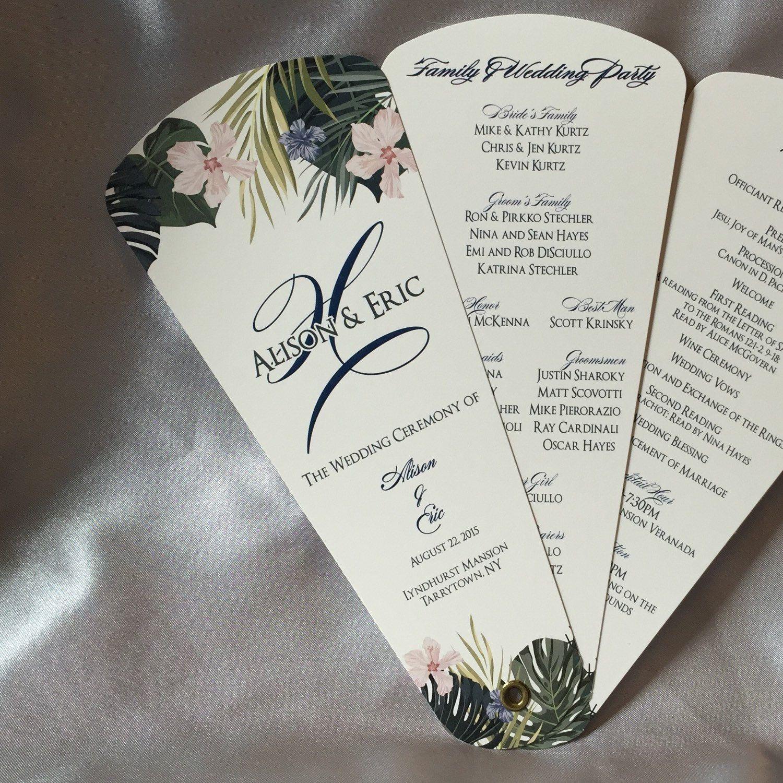Wedding Program Fans, Petal Fan Programs, Fan Programs - Tropical ...