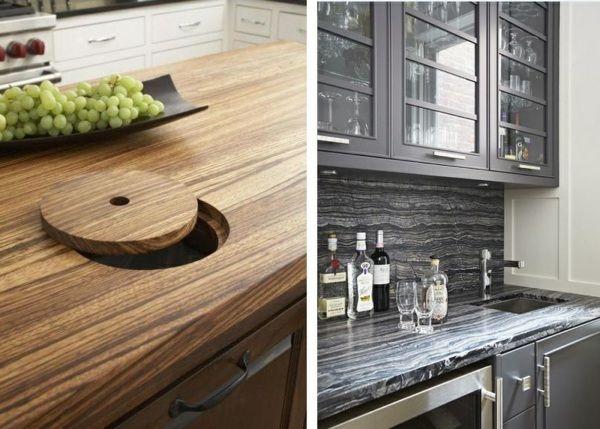 Massivholz poliert runder Deckel integrierter Mülleimer Keramik - keramik arbeitsplatten kueche design