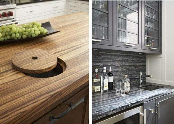 Massivholz poliert runder Deckel integrierter Mülleimer Keramik - keramik arbeitsplatte küche