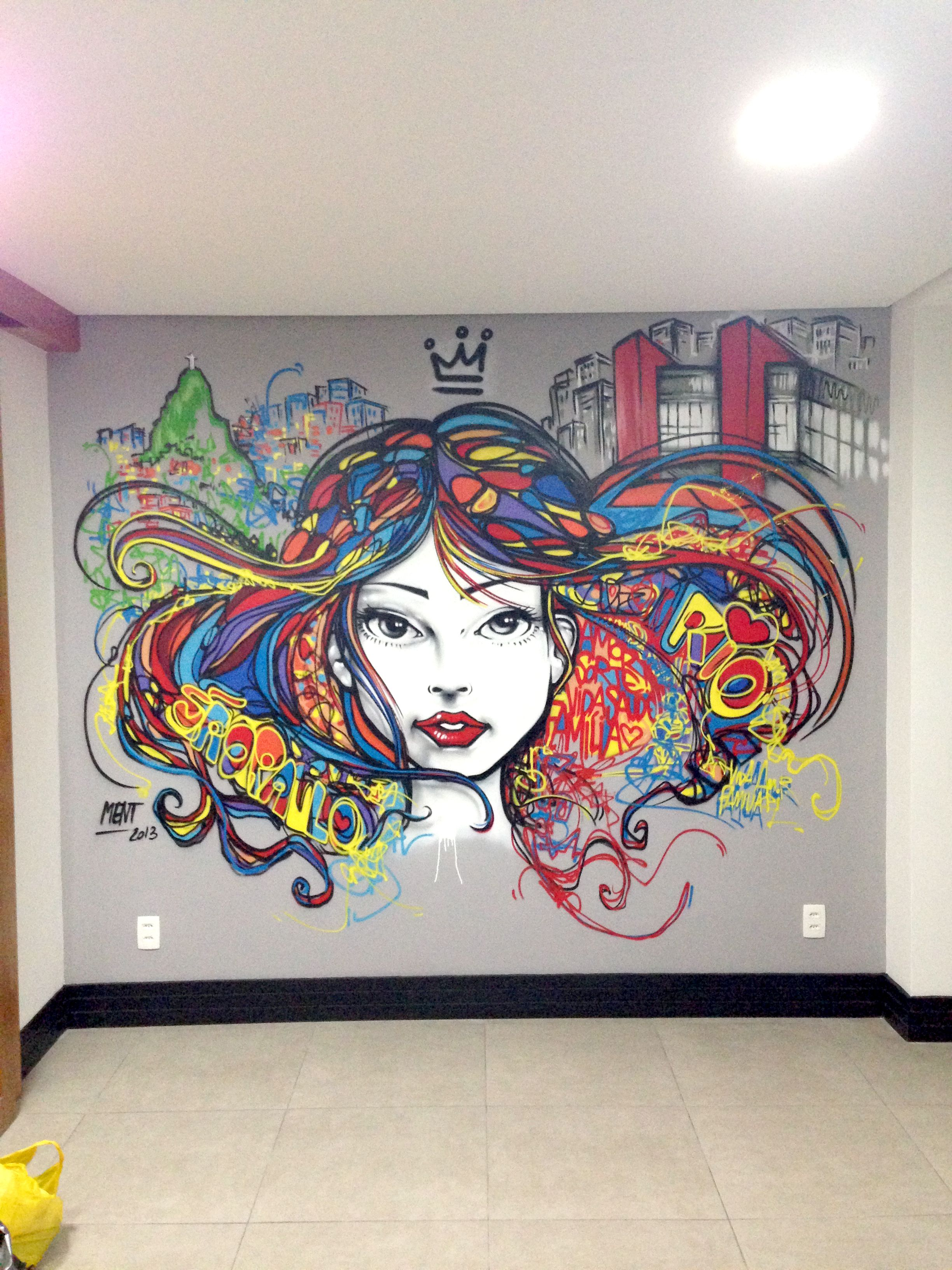 Apartamento Projeto By Neo Arq Com Trabalho De Grafite Em Destaque  ~ Papel De Parede Grafite Para Quarto