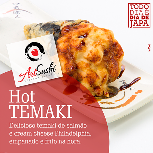Experimente nosso delicioso Hot Temaki.  Crocante por fora, suculento e saboroso por dentro. Que tal pedir um hoje?